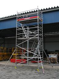 Aliuminio bokštai BoSS, platūs, 1.45m x 2.5m x H=12.2m(platforma)