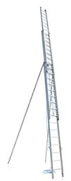 Aliuminės kopėčios iš 3 dalių, išskleidžiamos virve, su papildomais saugos stabilizatoriais, maks. L-12,24 m